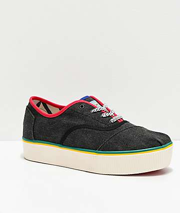 TOMS Cordones Boardwalk Black & Multicolor Platform Shoes