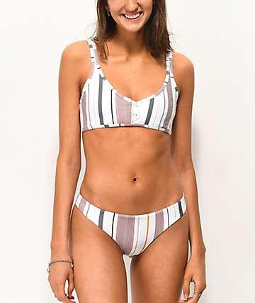 Tavik Ali Super Cheeky Striped White Bikini Bottoms