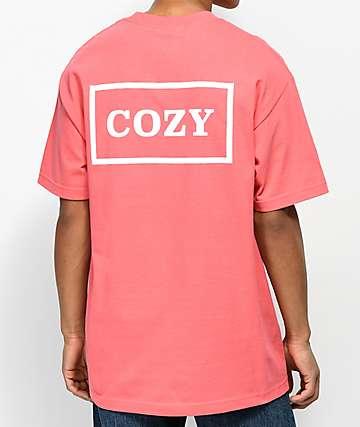 Team Cozy Cozier Box Coral & White T-Shirt