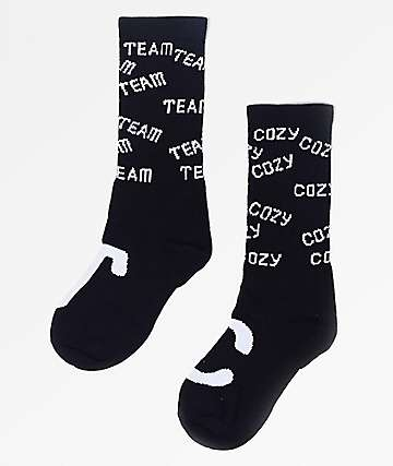 Team Cozy Jacquard Black Crew Socks