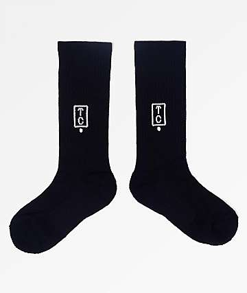 Team Cozy Logo Black Crew Socks