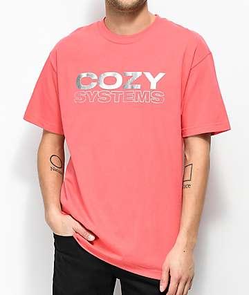 Team Cozy Systems camiseta en color coral