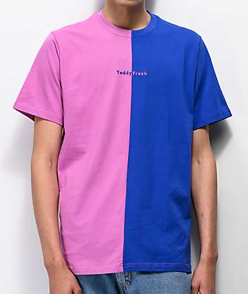 c1f30a2b Teddy Fresh Blue & Pink Split Colorblock T-Shirt
