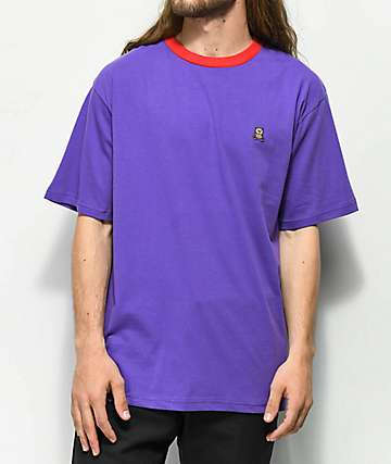 Teddy Fresh Embroidered Purple Ringer T-Shirt