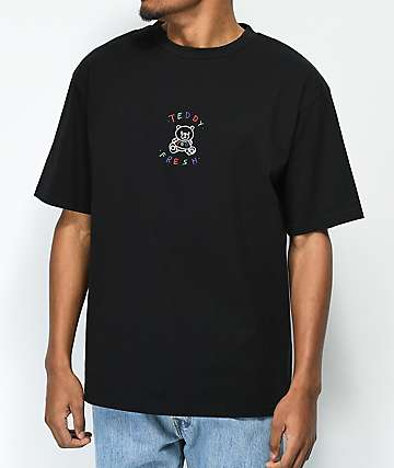 Teddy Fresh Embroidery Black T-Shirt