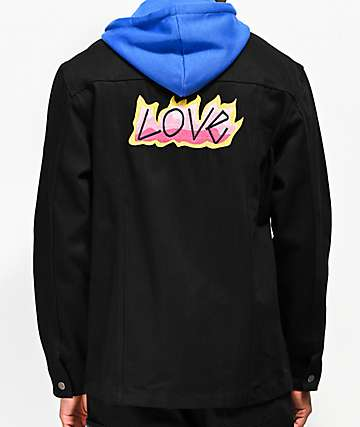 Teddy Fresh Love Black Denim Jacket