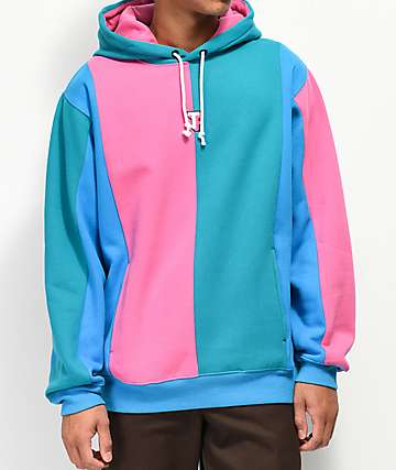 Teddy Fresh Love Blue & Pink Color Block Hoodie