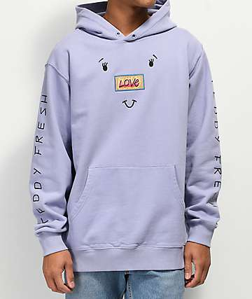 Teddy Fresh Love Face Purple Hoodie