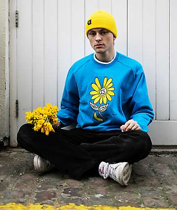 Teddy Fresh Love Flower Blue Raglan Crewneck Sweatshirt