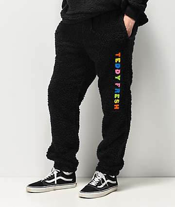 Teddy Fresh Sherpa Black Fleece Jogger Sweatpants