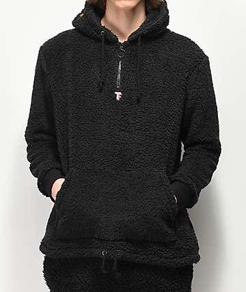 Teddy Fresh Sherpa Black Quarter Zip Fleece Hoodie