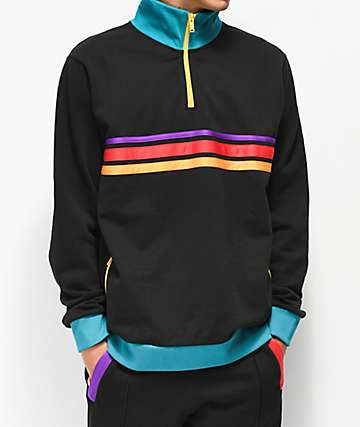 Teddy Fresh Striped Quarter Zip Sweatshirt