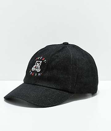 Teddy Fresh gorra strapback de mezclilla negra bordada