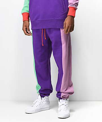 Teddy Fresh joggers morados y multicolor