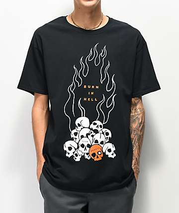 Teen Hearts Skull Pile Black T-Shirt