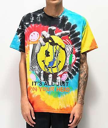 Teen Hearts Your Head Multicolor Tie Dye T-Shirt