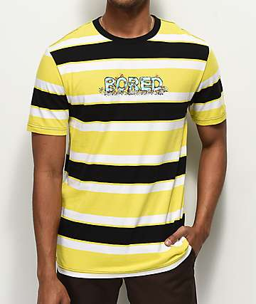 Teenage Bored Black, Yellow & White Striped T-Shirt