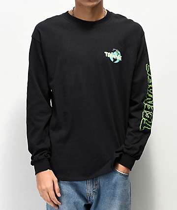 Teenage Cloudy Black & Green Long Sleeve T-Shirt