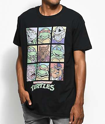 Teenage Mutant Ninja Turtles Characters Black T-Shirt