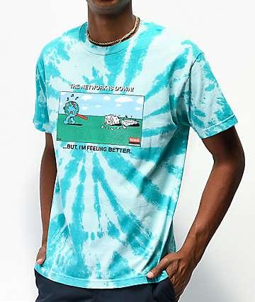 Teenage Network Is Down Slate Blue Tie Dye T-Shirt