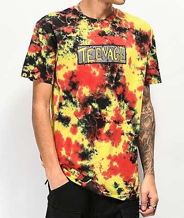 Teenage Scratchy Swirl Orange, Yellow & Black Tie Dye T-Shirt