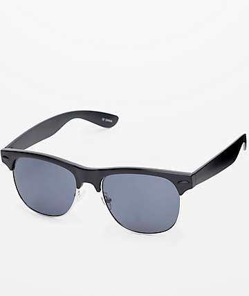 Temple Retro Black & Silver Sunglasses