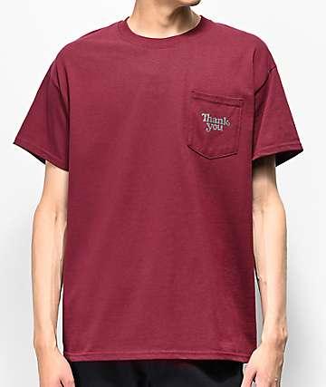 Thank You Burgundy Pocket T-Shirt