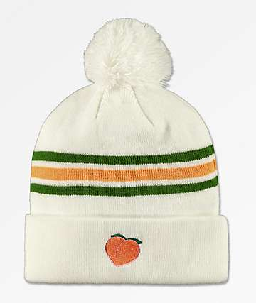 The Forecast Agency Peach Striped Pom Beanie