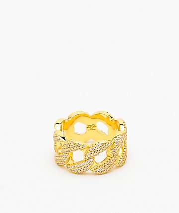 The Gold Gods 10mm Diamond Cuban Curve Ring