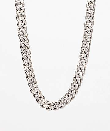 "The Gold Gods 10mm Diamond Miami Cuban 18"" White Gold Chain Necklace"