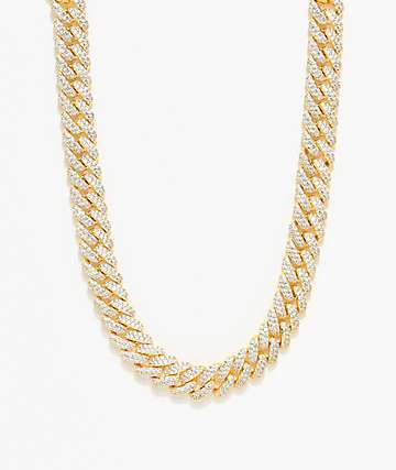 The Gold Gods 12mm Flooded Diamond collar de cadena cubana de  18""