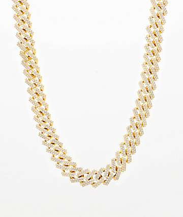 "The Gold Gods 15mm Straight Edge 22"" Gold Cuban Link Chain Necklace"