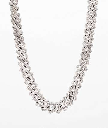 "The Gold Gods 15mm Straight Edge 22"" White Gold Cuban Link Chain Necklace"