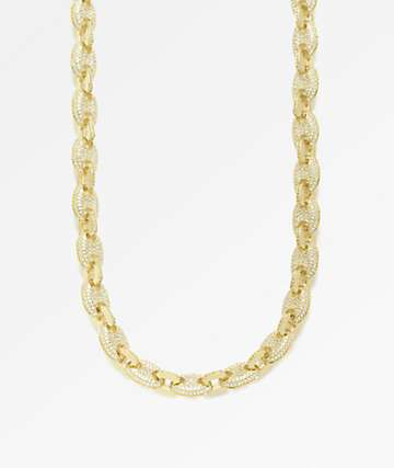 "The Gold Gods 8mm Diamond Gucci Link 18"" Gold Chain Necklace"