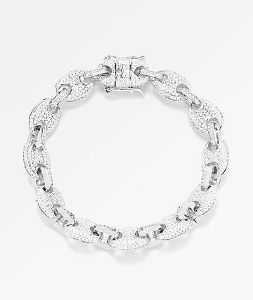 The Gold Gods 8mm Diamond Gucci Link White Gold Bracelet
