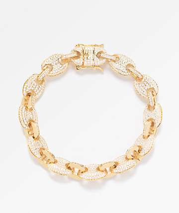 The Gold Gods 8mm Diamond Puff Link Gold Bracelet