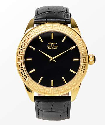 The Gold Gods Augustus Black Leather & Gold Analog Watch