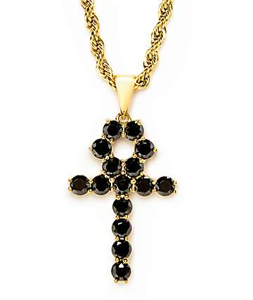 "The Gold Gods Black Onyx Ankh Cross Pendant 22""  Necklace"
