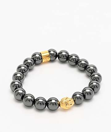 The Gold Gods Buddha Beaded Hematite Bracelet