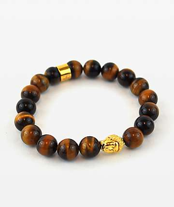 The Gold Gods Buddha Tiger Eye Beaded Bracelet
