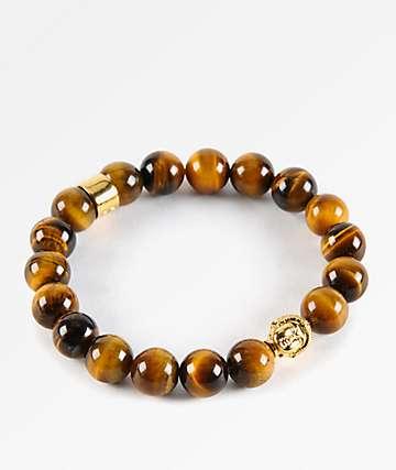 The Gold Gods Buddha pulsera de la piedra preciosa del ojo del tigre