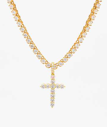 The Gold Gods Cross Pendant 6mm Tennis Chain Necklace