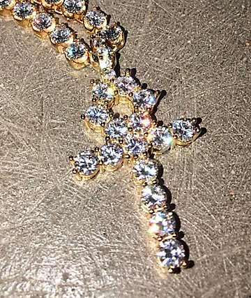 The Gold Gods Diamond Ankh Pendant & 6mm Tennis Chain Necklace