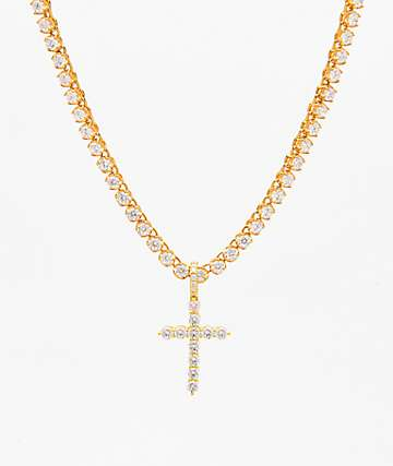 The Gold Gods Diamond Cross & 4mm Tennis Chain