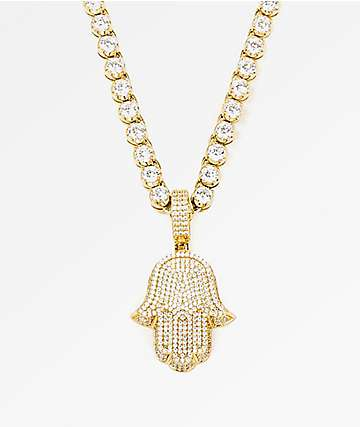 "The Gold Gods Diamond Hamsa Hand 4mm 20"" Gold Chain Necklace"