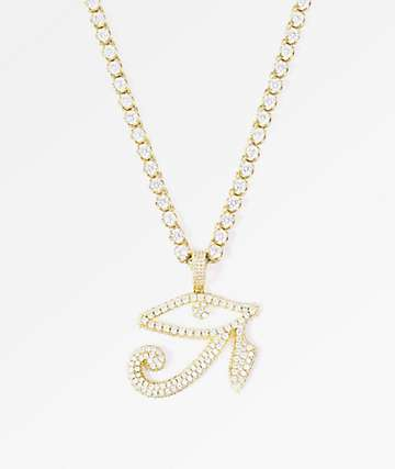 The Gold Gods Diamond Horus Pendant & 4mm Buttercup Chain Necklace