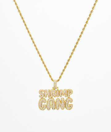 The Gold Gods Diamond Shrimp Gang Script Pendant Chain