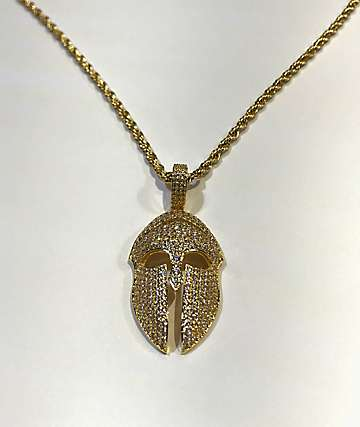 The Gold Gods Diamond Trojan Pendant Necklace