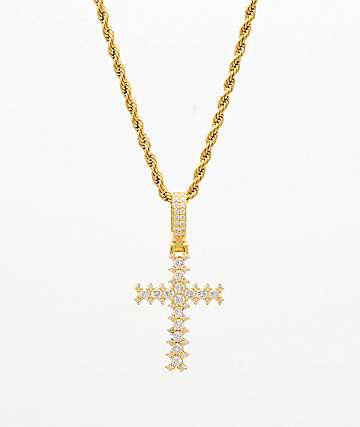 "The Gold Gods Flooded Diamond Cross 22"" Gold Necklace"