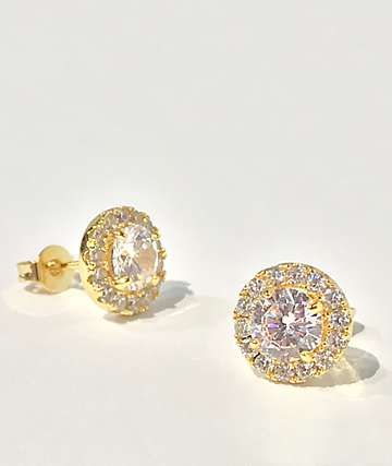 The Gold Gods Halo Diamond Gold Stud Earrings